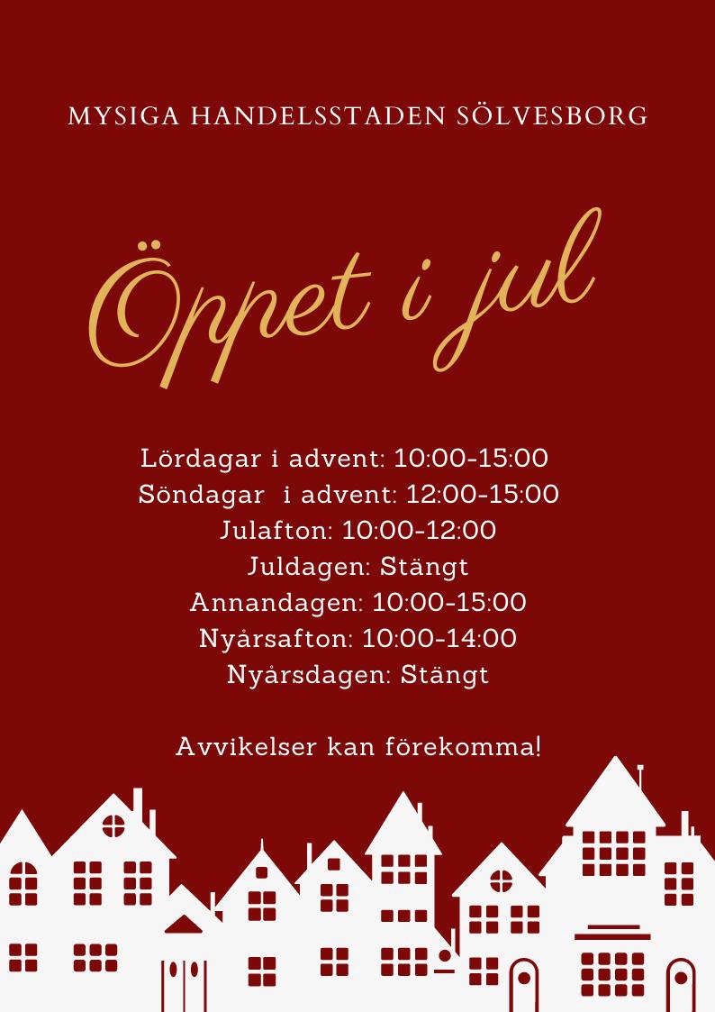 """Julens öppettider i """"Mysiga Handelsstaden Sölvesborg"""""""